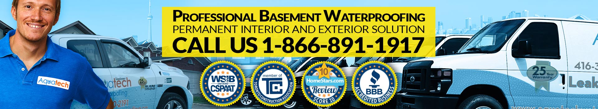aquatech professional basement waterproofing banner